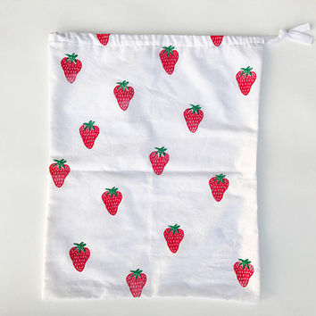 Reusable Cotton Produce Bag - Strawberry