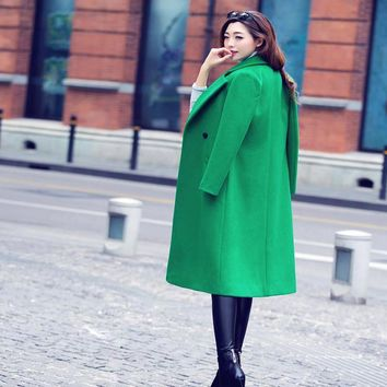 2017 Winter Women Woolen coat With Quilting Long Woolen coats  Black Red green Fashion Casual regular version Peacoats Plus size