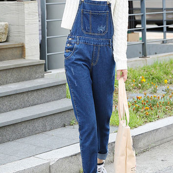 Blue Preppy Denim Overalls with Pockets