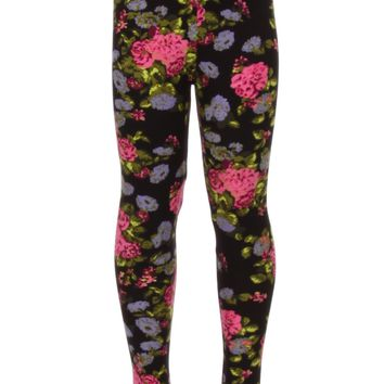 Girls Rose Leggings Floral Spring Flowers Pink/Blue/Black: S/L