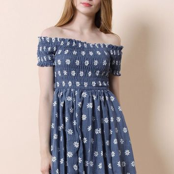 Pretty in Daisy Off-shoulder Dress in Chambray