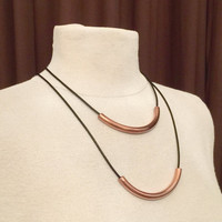 Copper Pipe Bead Necklaces, Layered 2 PC Set Pipe Bead on Black Leather Cords, Unisex Pipe Pendant Unique Christmas Gift, Industrial Jewelry