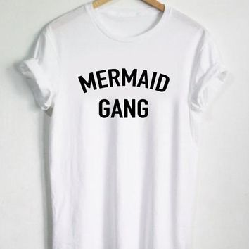 Mermaid Gang Letters Print Women T shirt Cotton Casual Funny Shirt For Lady White Top Tee Hipster T-117
