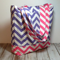 Large Chevron Tote - Beach Bag - Beach Tote - Canvas Tote Bag - Large Beach Bag - Large Tote Bag - Reversible Tote Bag - Large Summer Bag