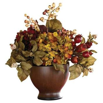 Autumn Hydrangea w/Round Vase Seasonal - Silk Arragnement
