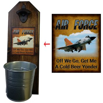 Air Force Bottle Opener and Cap Catcher, Wall Mounted