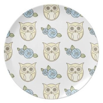 Retro Cute Owls & Roses Pattern Dinner Plates: Lovely Everyday Dish Gift for Her Birthday, Mother's Day, or Wedding Gift