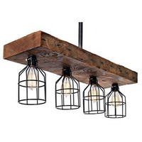 Farmhouse Lighting - Reclaimed Wood Rustic Chandelier