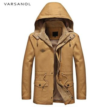 Men Jackets Waterproof Coat Military Hooded Winter Jacket Warm Cotton Outerwear Casual Zipper Pockets