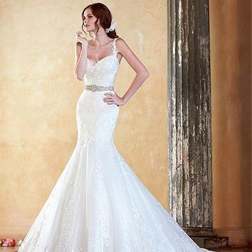 [197.99] Delicate Tulle Spaghetti Straps Neckline Mermaid Wedding Dress With Lace Appliques & Beadings - dressilyme.com