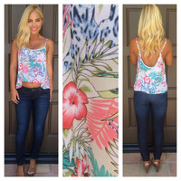 Island Time Hawaiian Print Tank - IVORY & MINT
