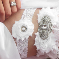 White Lace Wedding Garter With Bling- CELESTE - Spring Wedding Garter Set, Plus Size Garter, Wedding Accessories, Bridal Lingerie, Snowflake