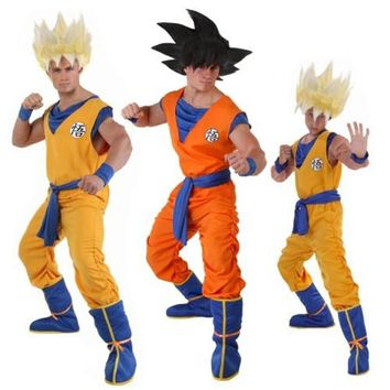 Dragon Ball Z Suit Son Goku Cosplay Costumes Top/Pant/Belt/Tail/wrister/Wig For Adult Kids