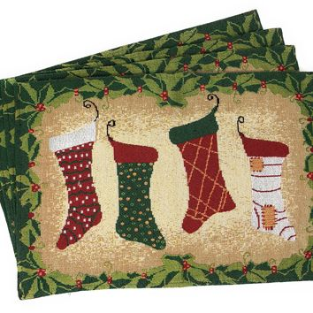 Tache 4 Pieces Festive Hang My Stockings By the Fireplace Placemat