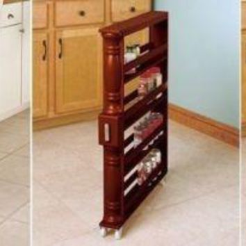 Kitchen Storage Spice Rack Slim Tall Spice Canned Goods Rolling Space Saver Wooden