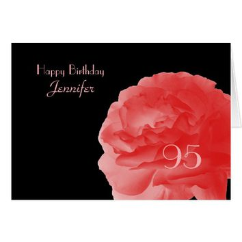 Happy 95th Birthday, Coral Pink Rose, Greeting Card