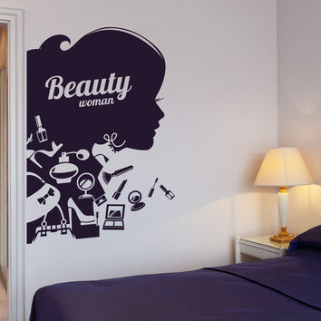 Vinyl Decal Beauty Salon Shop Woman Girl Cosmetic Makeup Wall Stickers (ig2647)