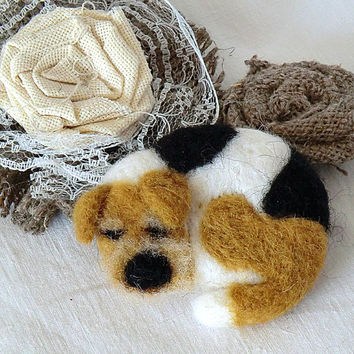 Brooch Dog Brooch felted Needle felted brooch Handmade brooch Felt products Felt brooches Felt animals Brooches and pins
