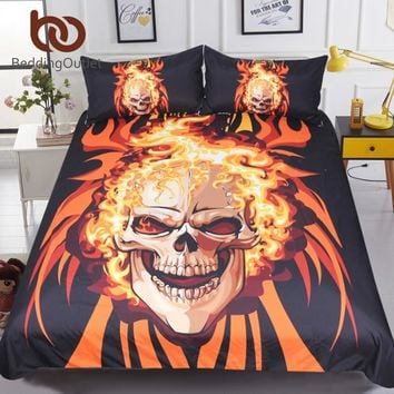 BeddingOutlet Angry Skull Bedding Set King 3D Printed Duvet Cover Flame Fire Bedspread 3pcs Gothic Orange Cartoon Home Textiles