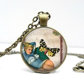 Butterfly Pinup Necklace : Glass Dome Art Picture Pendant Photo Pendant Handcrafted Jewelry by Lizabettas (1017)