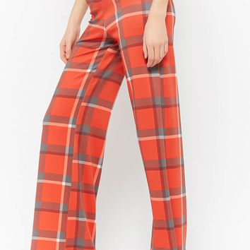 Plaid High-Rise Pants