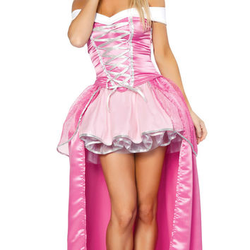 Pink Off Shoulder Long Back Princess Costume