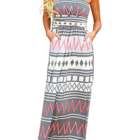 Geometric Pattern Tube Maxi Dress