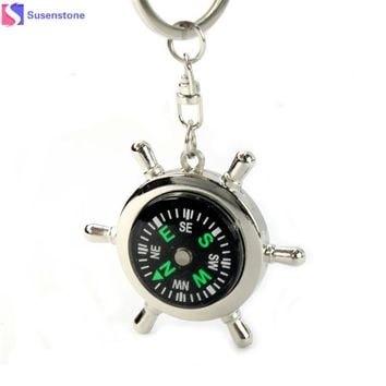 Newest Portable Alloy Silver Nautical Compass Helm Keychain keyrings Chain Compass key ring Zinc alloy and acrylic 4.5x0.7cm