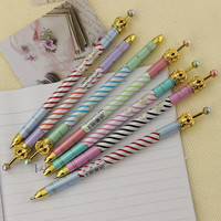 1Pcs Colored Stripes Crown Pen Ballpoint Pens Office School for Writing Stationery School Office Supplies