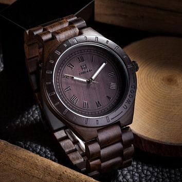2016 Hot Sell Men Dress Watch QUartz UWOOD Mens Wooden Watch Wood Wrist Watches men Natural Calendar Display Bangle Gift Relogio