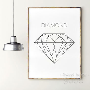 Geometric Diamond Canvas Art Print Painting Poster,  Wall Pictures for Home Decoration, Home Decor YE100