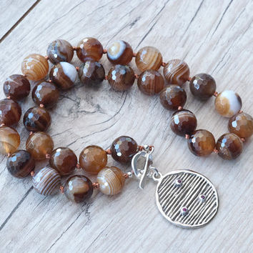 Botswana Agate Necklace, Sterling Silver and Rubies Pendant, Earthy Coloured Striped Agate, Statement Knotted Necklace, Gift Idea For Her