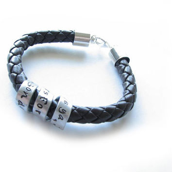 Braided Spiral Leather Bracelet Unisex Men Custom Hand stamped Black Leather engraved Jewelry