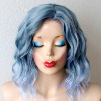 Pastel blue ombre wig. Grayish blue / Light blue Ombre Beach wavy short hairstyle wig for daytime use or Cosplay