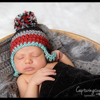Little Man Striped Pom Earflap Hat in Grey, Black, Aqua blue, and Red with matching grey mini blanket