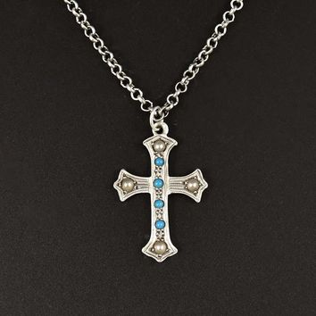 Silver Vintage Turquoise Pearl Cross Pendant