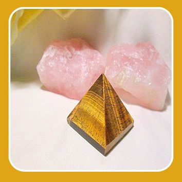 """Lucky & Protective "" Tigers Eye Pyramid"