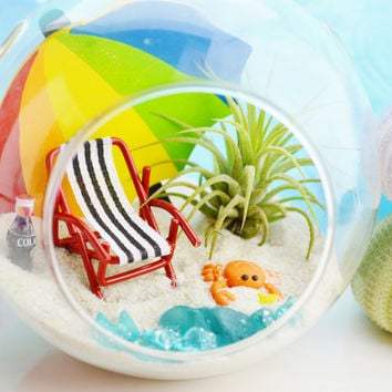 Beach Vacation Terrarium - Glass Globe Hanging Terrarium Kit with AirPlant ~ Home Decor ~ Beach Chair + Umbrella - Crab ~ Coke Bottle ~ Gift