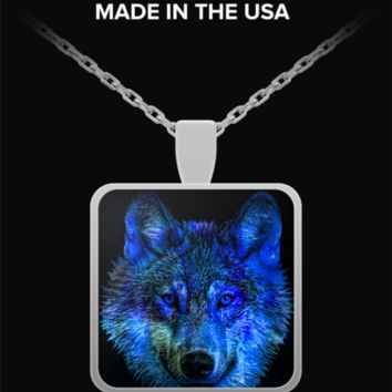 Native American Wolf Necklace - Square Pendant - Blue Design