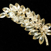 Juliana D&E Brooch Clear Rhinestones AB's Vintage Stylized Leaf
