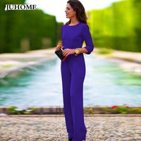 2018 long sleeve spring fashion nova palazzo LONG pant jumpsuit romper blue black elegant femme women overall backless dungarees