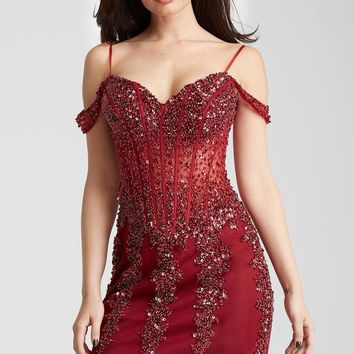 Jovani - 55226 Draped Off-Shoulder Corset Style Dress