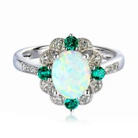 Lab-Created Opal, Emerald & White Sapphire Ring in Sterling Silver - Jewelry - Helzberg Diamonds