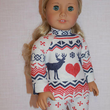 18 inch doll clothes, white blue and red fair isle print doll pajamas, matching handknit slippers, Christmas pyjamas, doll pjs,, Maplelea