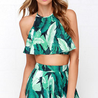 Leaf it to Me Green Tropical Print Two-Piece Set