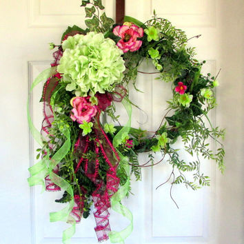 Spring Summer Wreath, Summer Wreath For Front Door, Hydrangea Floral Door  Decorations, Elegant