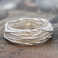 Sterling Silver Interwoven Wire Ring