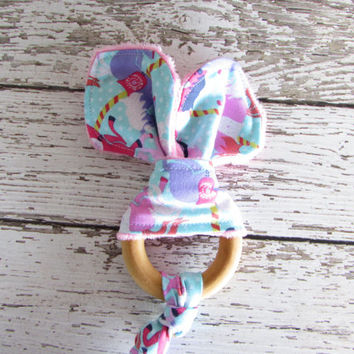 Carousel Snap On Teether. Bunny Ear Teether. Organic Wooden Teether - RTS