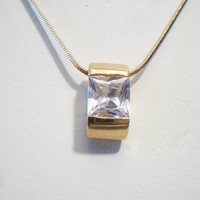 Square Cut rhinestone Pendant Necklace Princess Cut Costume Jewelry Gold Tone Fashion Accessories For Her
