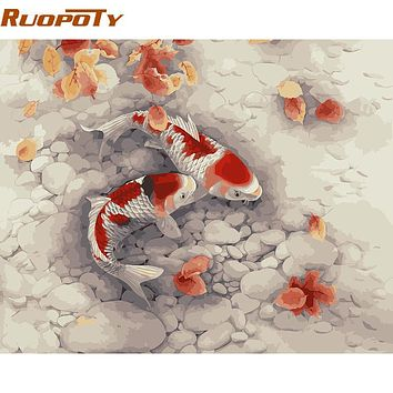 RUOPOTY Goldfish DIY Painting By Numbers Home Decoration Acrylic Picture Paint By Numbers For Living Room Wall Artwork 40x50cm